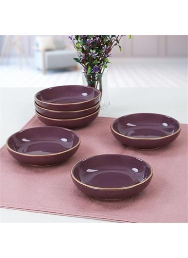 Keramika Mor Halka Çerezlik/Sosluk 13 Cm 6 Adet Renkli